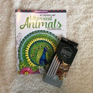 Brand new coloring book and colored pencils